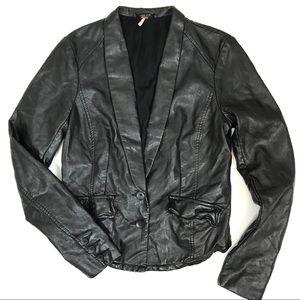 Free People Faux Leather Blazer Jacket Sz 4 Vegan